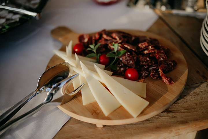 Plate of traditional Istrian smoked meet and cheese.