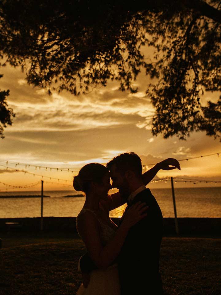 Wedding in Istria during a golden sunset in Poreč.