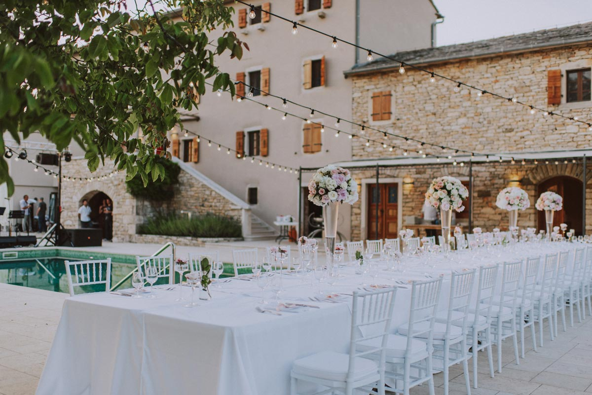 Inland Wedding Venue in Istria. Wedding is organized at the villa with a pool.